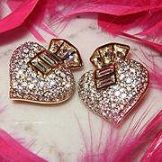 SWAROVSKI~Swan Signed Stunning Huge Spade Shaped Crystal Statement Clip Earrings