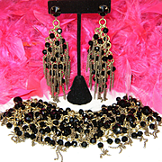 Amazing Vintage Huge Black Crystal Fringe Chain Statement Bracelet Earrings