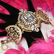CAROLEE~Breathtaking Huge Crystal/Rhinestone Gold Filigree Statement Bracelet
