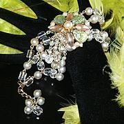 Amazing Vintage HOBE Style Pearl/Crystal/Rhinestone/Confetti Cabochon Fringe Bracelet