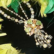 Amazing Vintage HOBE Style Pearl/Crystal/Rhinestone/Confetti Cabochon Fringe Necklace