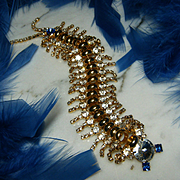 """Amazing Vintage Large 6 1/2"""" Blue/Rhinestone Articulated Centipede Brooch/Pin"""