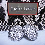 Signed JUDITH LEIBER~Stunning Huge Swarovski Crystal/Rhinestone Domed Clip Runway Statement Ea