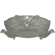 SOLD Jeanette Glass Co., Three Pheasants, Console Bowl