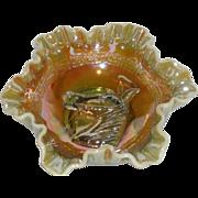 SOLD Fenton/Levay, Aqua Opalescent, Carnival Glass Pony Bowl