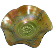 Northwood, Green, Poppy Variant, Carnival Glass Bowl