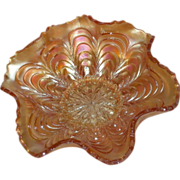 Small, Fenton, Marigold, Peacock Tail, Carnival Glass Berry Bowl