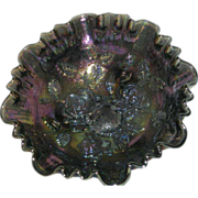 Smoke, Imperial, Lustre Rose/Open Rose, Carnival Glass Footed Bowl