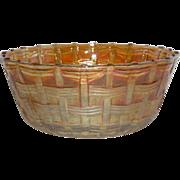 Rare, Dugan, Marigold, Big Basketweave, Carnival Glass Nut Bowl