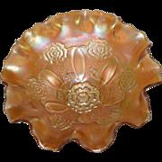 Dugan, Marigold, Double Stem Rose, Carnival Glass, Domed Base Bowl