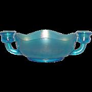 Dugan, Jewels, Celeste Blue, Carnival Glass Candle Bowl