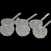 Set of Six, Crystal, Open Salts W/Five Glass Salt Spoons