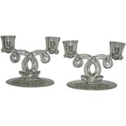 SOLD Etched Pair, Lariat, Double Candle Sticks