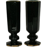 Pair, Dark Green, Gold Gilded, Eight Sided Bud Vases