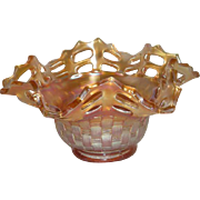Fenton, Marigold, Two Row, Open Edge Basketweave, Ruffled Carnival Glass Hat Vase