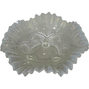 Northwood, White Opalescent, Lattice Medallions, Ball Footed Ruffled Bowl