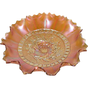 Dugan, Marigold, Windflower, 10 Ruffle, Carnival Glass Bowl