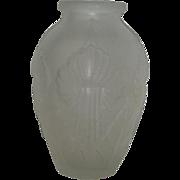 Large, Satin, Iris, Art Glass Vase