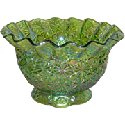 SOLD Summit Art Glass, Green, Daisy and Button, Carnival Glass Nut Bowl