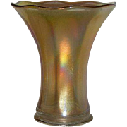 """Imperial, 7"""", Smooth Panels, Marigold Carnival Glass Squat Vase"""
