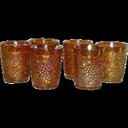 Set of Six, Imperial Grape, Marigold Carnival Glass Tumblers