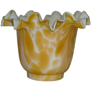 Late 1800's-Early 1900's, Blown, Cased, Caramel and White Squat Vase