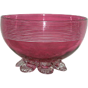 SOLD Victorian Art Glass, Blown, Cranberry Bowl w/Machine Threading, and Applied Feet