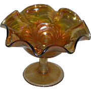 Imperial, Scroll Embossed, Marigold Carnival Glass Compote