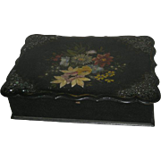 Black Lacquer w/Mother of Pearl and Painted Floral Decoration, Lap Desk