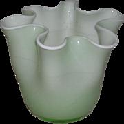 Hand Blown, Green & White Cased Art Glass Squat Vase