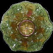 Green, Millersburg, Primrose Carnival Glass Bowl