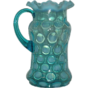 Northwood, Blue Opalescent, Coin Spot Tankard Pitcher