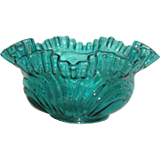 Fenton Art Glass, Blue, Ruffled and Crimped Bowl