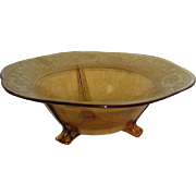 Amber, Fostoria #2394, Gold Decorated Center Bowl