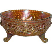 Imperial, Marigold, Lustre Rose Carnival Glass Fernery Bowl