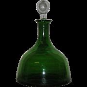Green, Blenko Art Glass,Crackle Glass Decanter