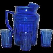 SOLD Cobalt Blue, Hazel Atlas, Mid Century 4 Pc. Water Set