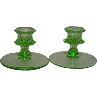 Pair, Green Uranium Glass, Depression Era Candle Holders