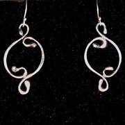 Sterling Silver Oval double Curl - Earrings