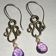 Sterling Silver Amethyst Briolette Drops - Earrings