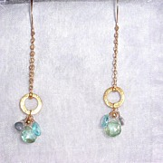 14kt Gold-Filled Apatite and Topaz Briolette Clusters  - Earrings