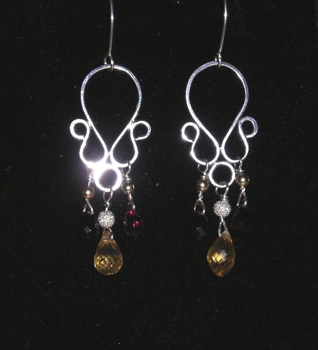 Sterling Silver Garnet and Citrine Briolette Drops - Earrings