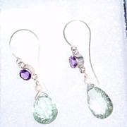 Sterling Silver Green and Purple Amethyst - Earrings