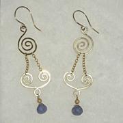 Tanzanite Gold Filled Swirl Earrings