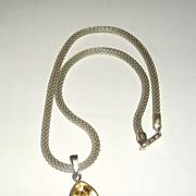 Sterling Silver Trillion Citrine Pendant - Necklace