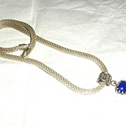 SALE Sterling Silver Lapis Lazuli Filigree Heart Pendant - Necklace