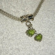SALE Sterling Silver Carved Peridot Pendant - Necklace