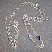 Sterling Silver and Faceted Multi-Gemstone  Necklace