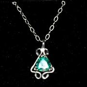 Sterling Silver Trillion Topaz  - Necklace