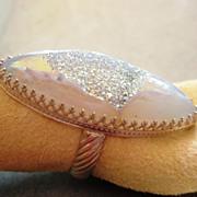 Sterling Silver Marquis Druzy Quartz - Ring
